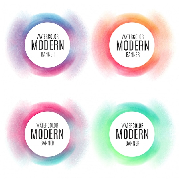 colorful circular banner collection vector free download