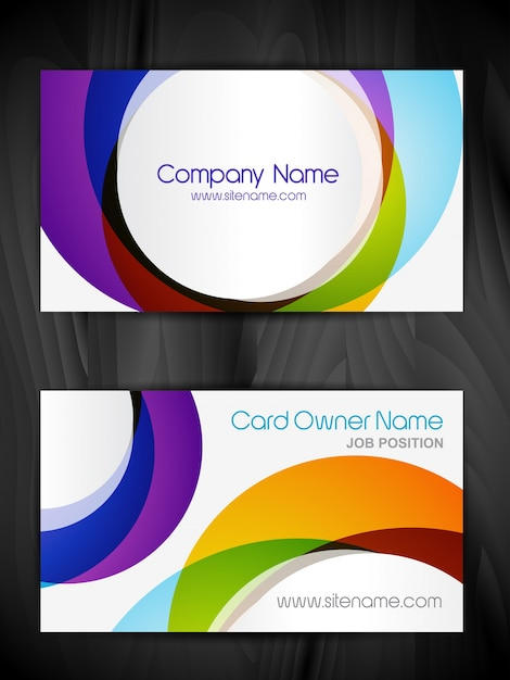 Colorful circular business card template Vector | Free Download