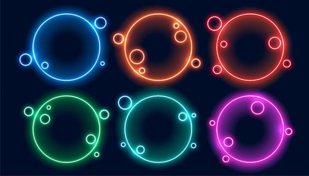 カラフルな円形のネオンフレーム6個セット 無料ベクター
