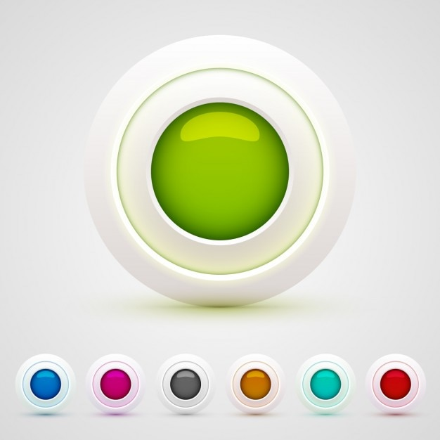Colorful circular web buttons Free Vector