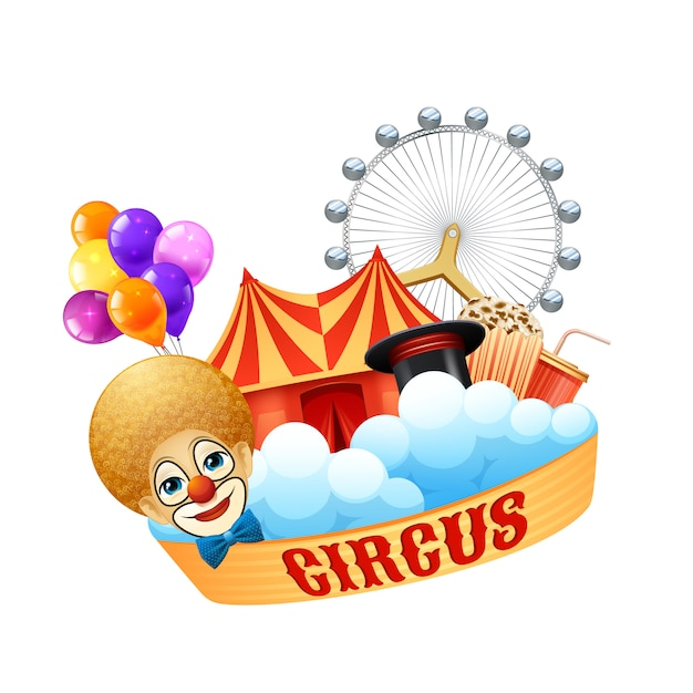 Colorful circus concept with clown balloons magic hat arena ferris