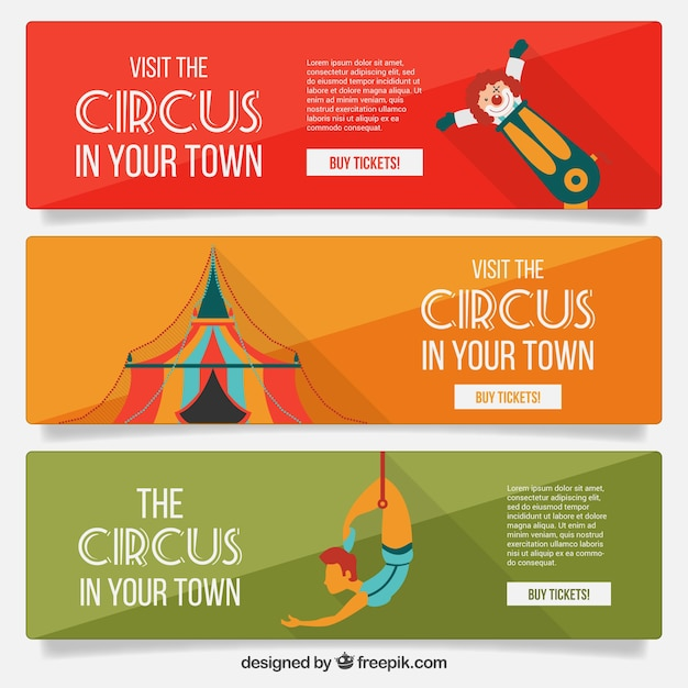 colorful circus website banners vector premium download