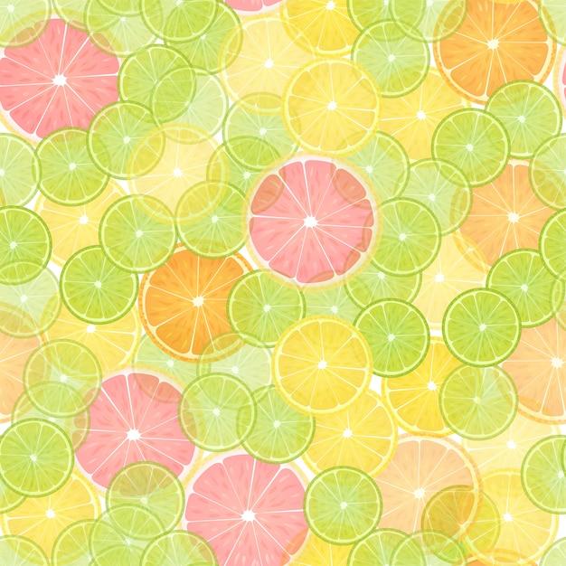 Colorful citrus lemon seamless pattern. Premium Vector