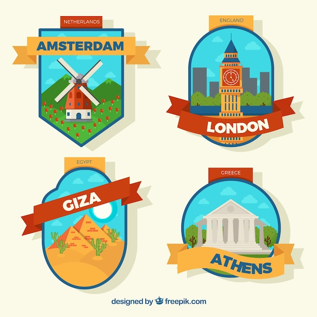 Colorful city badges Free Vector