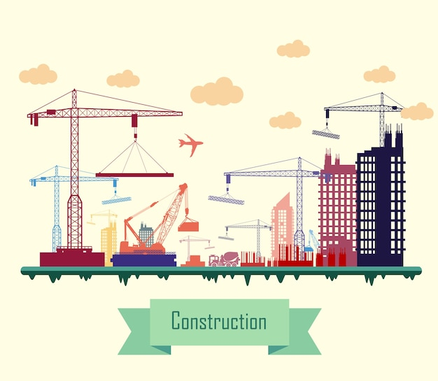 Colorful city construction site flat design Premium Vector