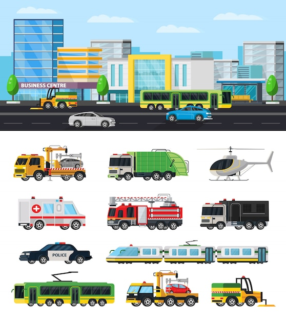 Colorful city transport collection Free Vector