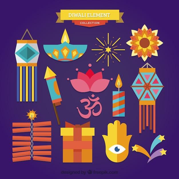 Colorful classic diwali elements