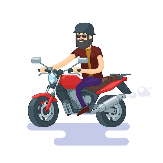 Colorful classic motorcycle concept Free Vector