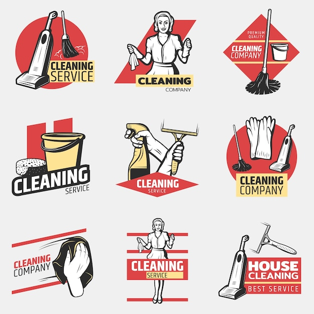 Colorful cleaning company logotypes Free Vector