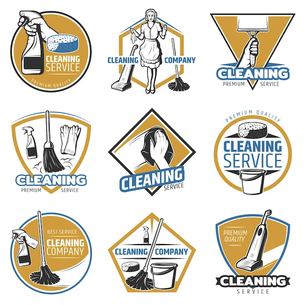 Colorful cleaning service logo Free Vector