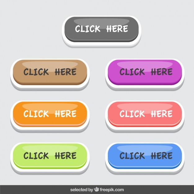 Colorful click here button collection Free Vector