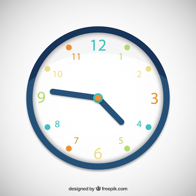 Colorful clock Free Vector