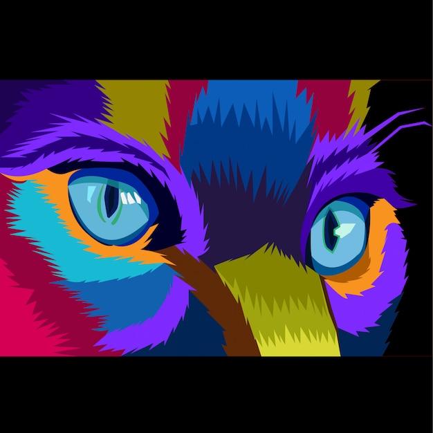 Colorful close up cat concept pop art vector Premium Vector