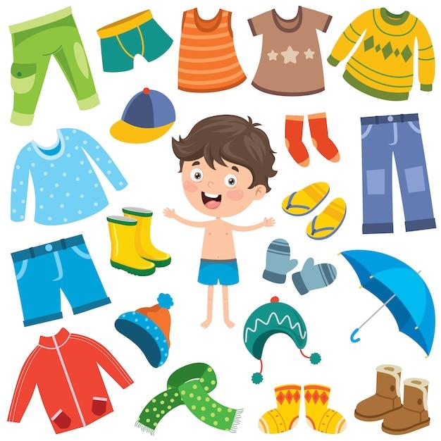 Colorful clothes for little children Premium Vector
