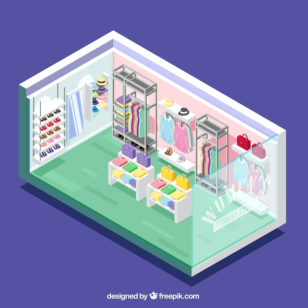 Colorful clothing store, isometric view