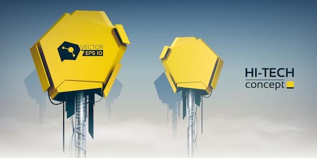 Красочная иллюстрация неба облака с двумя желтыми техническими устройствами для разработчиков продуктов высоких технологий реалистично Бесплатные векторы