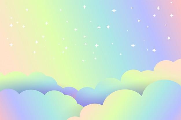 星の魔法のデザインとカラフルな雲の背景 無料ベクター