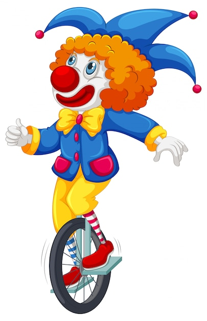 Colorful clown riding a unicycle Free Vector