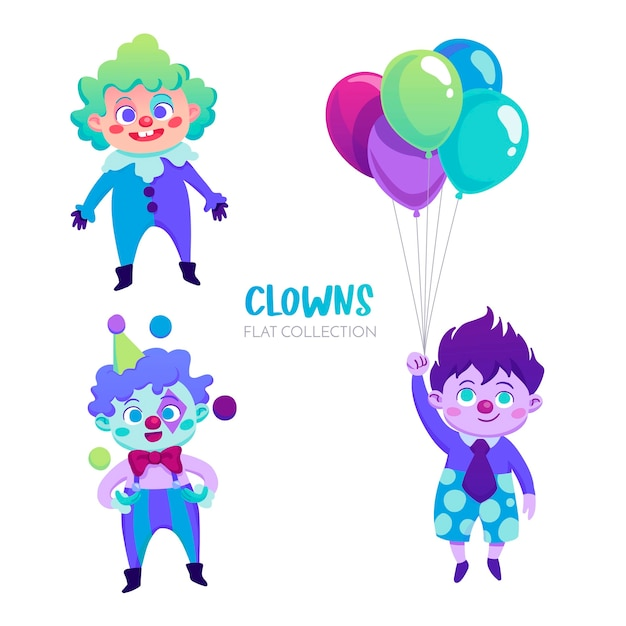 Colorful clowns characters Free Vector