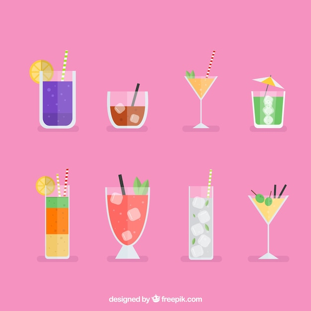 Collezione cocktail colorati con design piatto Vettore gratuito