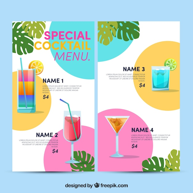 Lovely Colorful Cocktail Menu Template Free Vector  Cocktail Menu Template Free Download