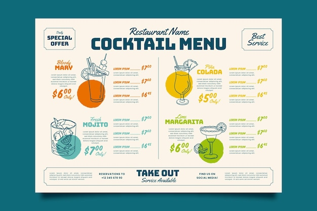Colorful cocktail menu template Free Vector