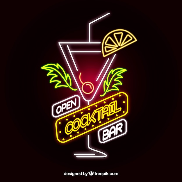 Colorful cocktail neon sign Free Vector