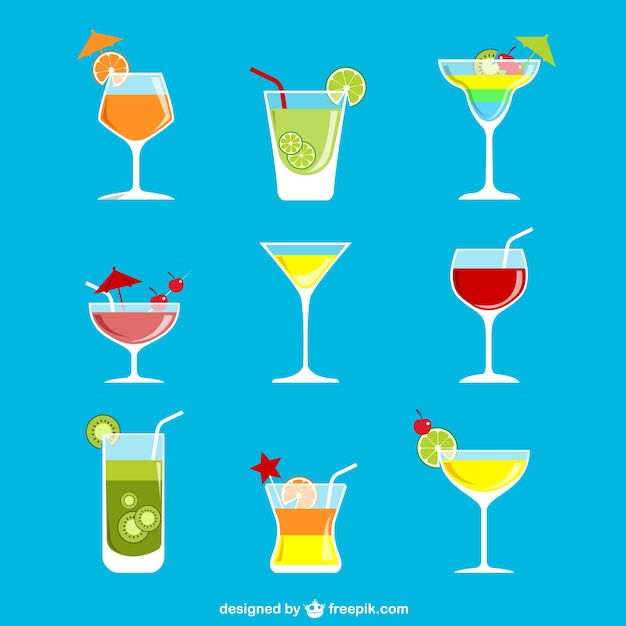Colorful cocktails Premium Vector