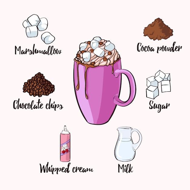 Ricetta bevanda al cacao colorato Vettore gratuito