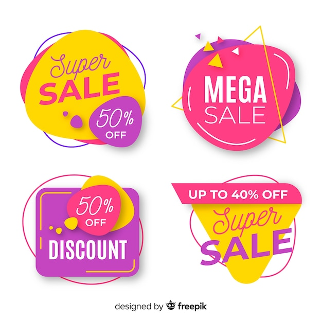 Colorful collection of abstract sale banners Free Vector
