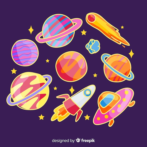 Colorful collection of hand drawn space stickers Free Vector