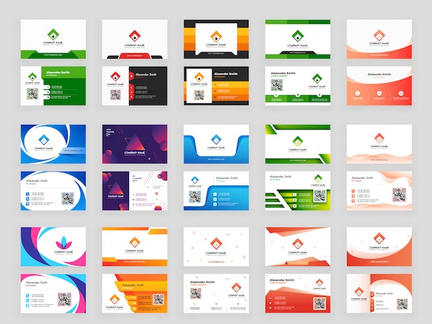Colorful collection of horizontal business card Premium Vector