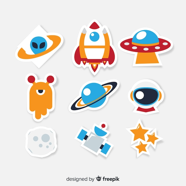 Colorful collection of modern space stickers Free Vector