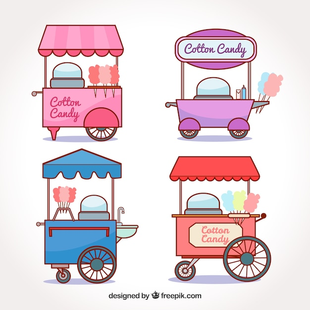 Colorful collection of cotton candy carts