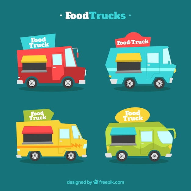 Colorful collection of flat food trucks