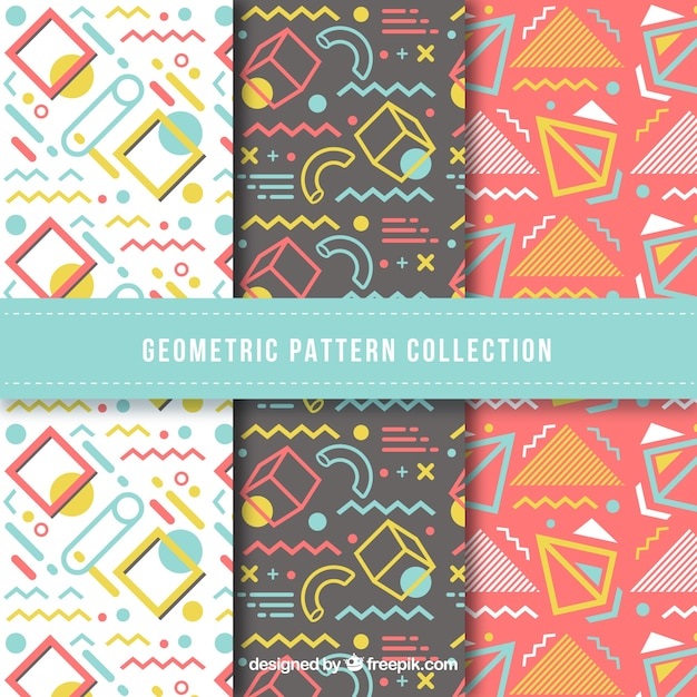 Colorful collection of fun geometric pattern