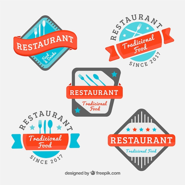 Colorful collection of modern restaurant logos