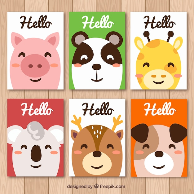 Colorful collection of smiley animal cards
