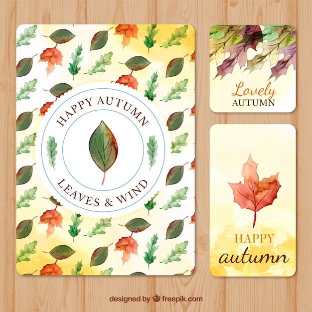 Colorful collection of watercolor autumn cards