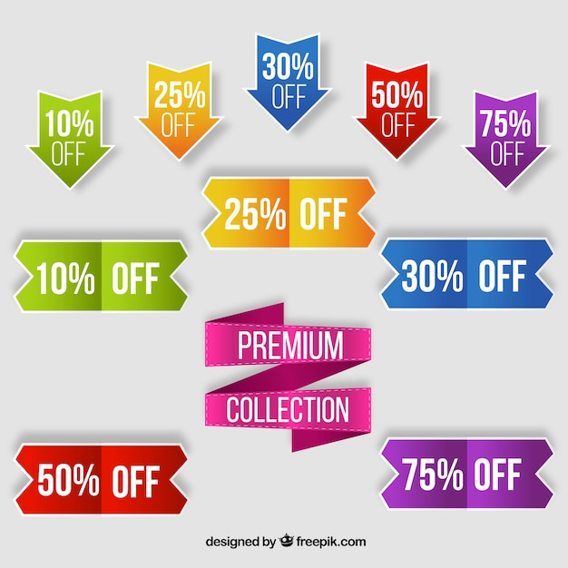 Colorful collection of sale labels Free Vector