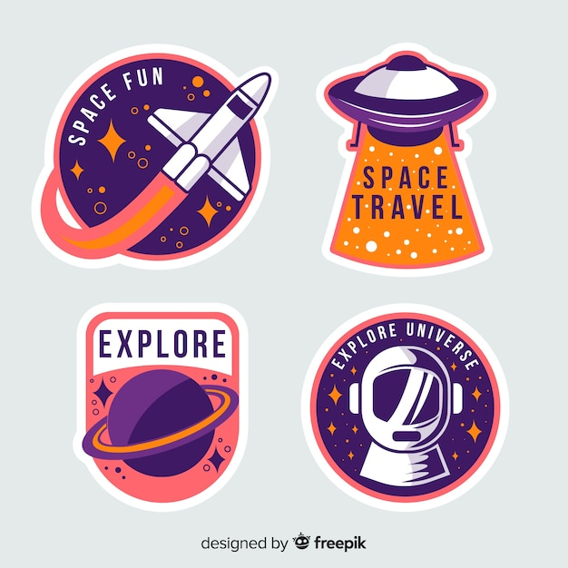 Colorful collection of space stickers Free Vector