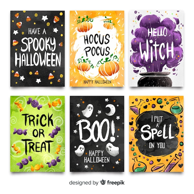 Colorful collection of watercolor halloween card Free Vector