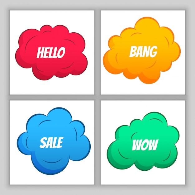 Colorful comic clouds Free Vector