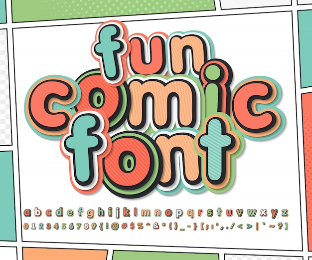 Colorful comic font on comic book page. kid's alphabet in pop art style. multilayer funny letters and numbers Premium Vector
