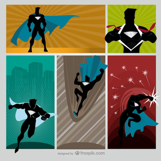 Colorful comic hero scenes Free Vector