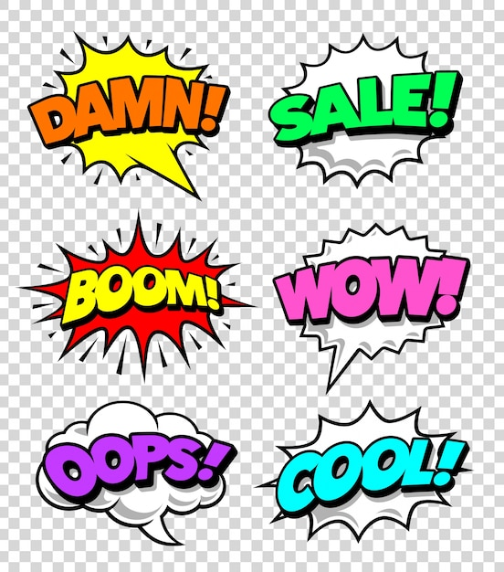Colorful comic label collection Free Vector