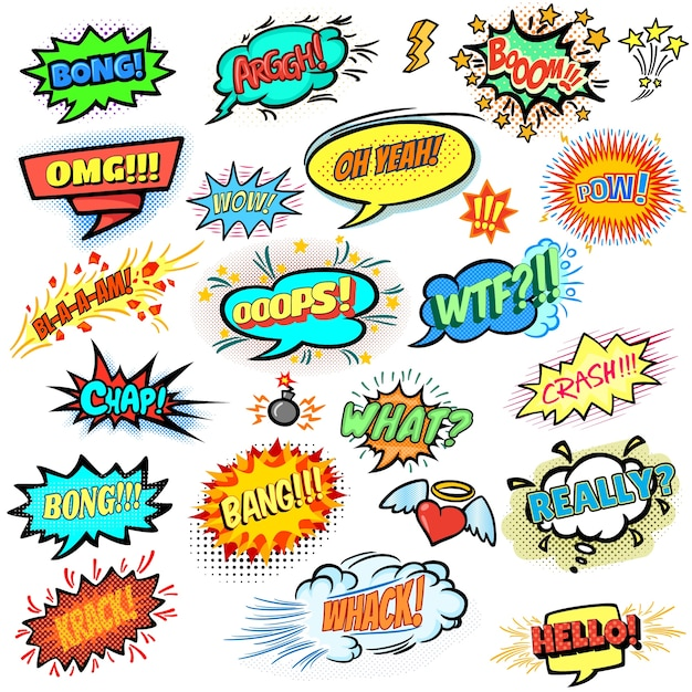 Colorful comic speech bubbles collection Free Vector