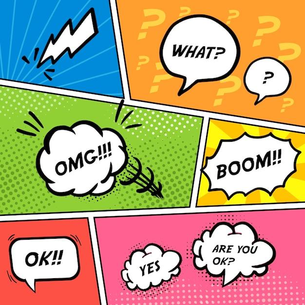 Красочные комические речевые пузыри над пустыми страницами комиксов Premium векторы