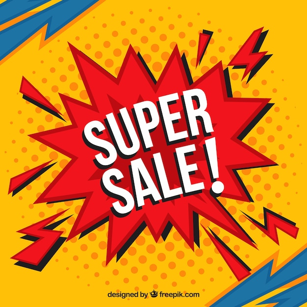 Colorful comic style sale background Free Vector