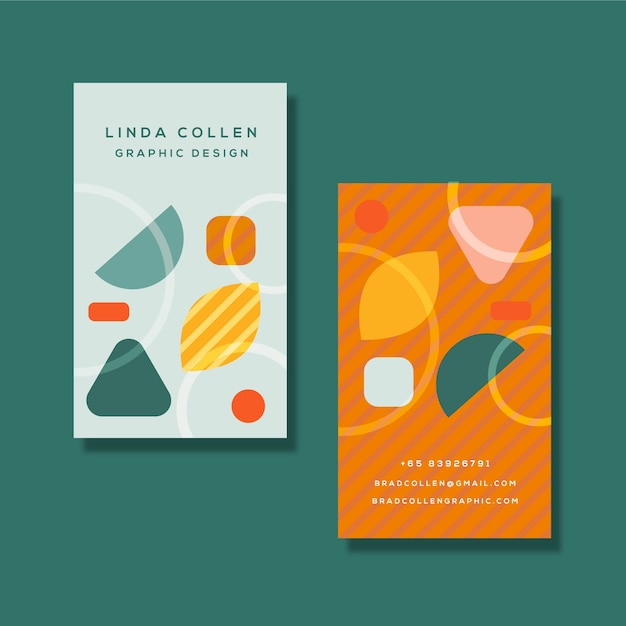 Colorful company card with different shapes Free Vector